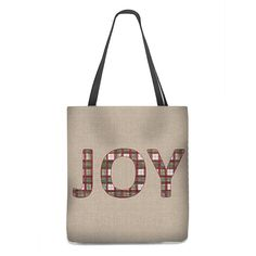 """Christmas """"JOY"""" Tote Bag in green and red plaid"""