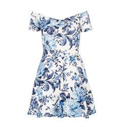 White And Blue Textured Flower Print Bardot Dress