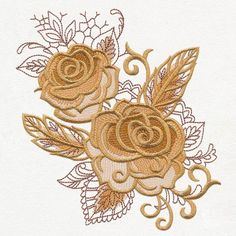 Autumn baroque - roses and feathers urban threads: unique an Hand Embroidery Tutorial, Embroidery Flowers Pattern, Embroidery Needles, Free Machine Embroidery Designs, Crewel Embroidery, Ribbon Embroidery, Flower Patterns, Lace Applique, Advanced Embroidery