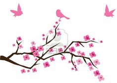 cherry tree in blossom with birds Stock Photo - 7300780