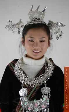 Ethnic Miao Hmong Costume Dress Tribal Jewelry Ornament Art http://www.interactchina.com/