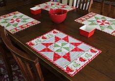 The Crafty Quilter | Christmas in August:  Pinwheel Star Table Runner, Placemats, and more! | http://thecraftyquilter.com