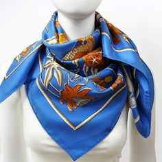Authentic Vintage Hermes Silk Scarf Caraibes by Christiane Vauzelles w/Box and Bolduc