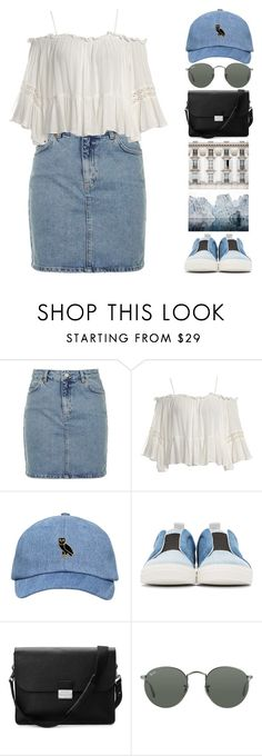 """""""denim // 13.08.2016"""" by camillaermitnavn ❤ liked on Polyvore featuring Topshop, Sans Souci, Pierre Hardy, Aspinal of London and Ray-Ban"""
