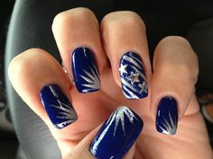 Blue silver stars nails