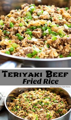This super simple and tasty Teriyaki Beef Fried Rice is a skillet meal in the making. Lean ground beef is sauteed then combined with cooked rice, sweet petite peas & green onions Beef Fried Rice, Fried Rice With Egg, Beef And Rice, Rice Recipes, Asian Recipes, Cooking Recipes, Healthy Recipes, Meal Recipes, Ground Beef Rice
