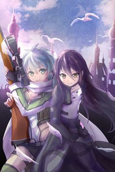 Sinon and Kirito Cute Characters, Anime Characters, Sao Kirito And Asuna, Sinon Ggo, Otaku, Asada Shino, Types Of Swords, Gun Gale Online, Gamers Anime