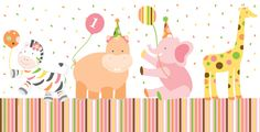 1st Birthday Plastic Table Covers – Jungle Animals Girls