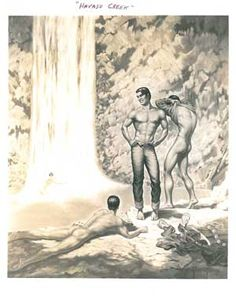 """www.bijouworld.com """"Havasu Creek"""" George Quaintance 1948  8x10 Quaitance specialized in painting and photographing male athletes for physique magazines In the early 1950s, he set up his own studio in Phoenix, Arizona, where he created the works of art he is best known for today. His lover, Eduardo, was as a model for many of his matador paintings. $249.95"""