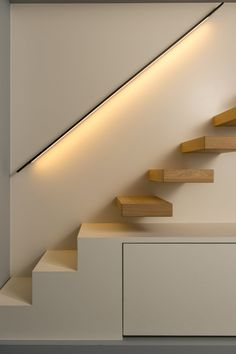 Best Under The Stairs Modern Staircase Design Ideas Stairs Architecture, Architecture Design, Museum Architecture, Stairway Lighting, Ceiling Lighting, Lights On Stairs, House Lighting, Accent Lighting, Kitchen Lighting