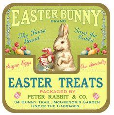 Bonbons de Pâques traite Bunny Label Digital par chocolaterabbit