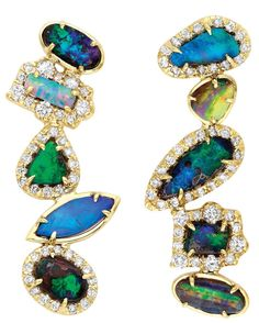 Kimberly McDonald Opal and diamond earrings summer2016 #opalsaustralia