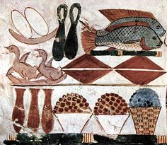 Depiction of various foods in a burial chamber, c. 1400 BC.