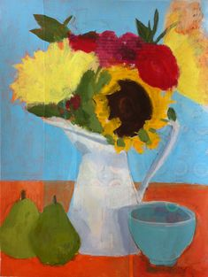 "<b>pitcher of flowers</b><br>mixed media on paper, <br>16""x12"" (22""x18"" w/ mat)<br><b>sold</b> : sold artwork : laurie breen--contemporary still-life and figurative paintings & art for children's spaces"