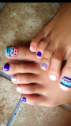 Tribal Toe Nail Designs For This winter. Related PostsLatest Summer Toe Nail Art Cool Pointy Nail Designs To TryNail Art Designs You Will Fall Cute Summer Nail Art DesignsGirl winter nail colors designs Inspired for Paintin Cute Toe Nails, Toe Nail Art, Fancy Nails, Love Nails, Pretty Nails, Pedicure Nails, Diy Nails, Nail Art Designs, Nails Design