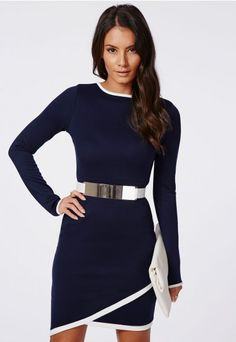 Hoshi Long Sleeve Asymmetric Bodycon Dress Navy - Dresses - Bodycon Dresses - Missguided