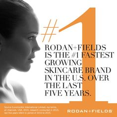 This is so IMPRESSIVE!   For the 5th year in a row Rodan+Fields is the fastest growing skincare brand in the U.S.  And this year we will be expanding to AUSTRALIA! Now is the time to join us before we become the fastest global skincare brand!!
