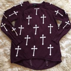 Forever 21 Cross Shirt Dark purple cross sweater in perfect condition, worn only twice! Had a high-low style with the front being a normal length and the back being longer. Forever 21 Tops