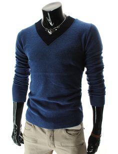 Black v-neck detail.