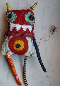 Red Fred Gremlin handmade art doll - by monstermaud