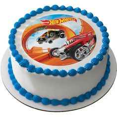 Everyone will race to the table when you decorate your dessert with a Hot Wheels Steer Clear Edible Cake / Cupcake Topper Bolo Hot Wheels, Hot Wheels Cake, Festa Hot Wheels, Hot Wheels Party, Cupcakes Online, Hot Wheels Birthday, Large Cupcake, Online Cake Delivery, Order Cake