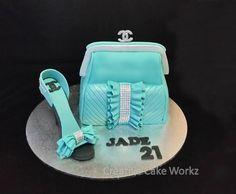 Teal Clutch Purse & Stiletto Shoe 21st Birthday Cake