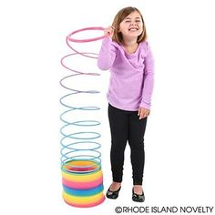 """LARGE Coil Spring 7""""Ø 7.25"""" Stacked Rainbow Magic Colorful Slinky Gift Christmas #RhodeIslandNovelty"""