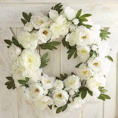 "Faux White Peony 25"" Wreath"