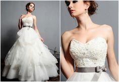 Suknia ślubna ze wstążką w pasie