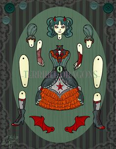 Articulated Paper Doll Devious Devil Sister by RivkaZ on Etsy, $7.00