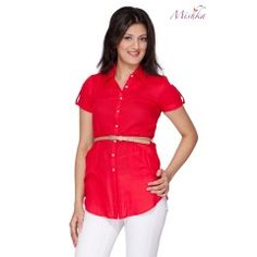 This hot looking trendy Scarlett Tunic comes with belt loops on either side of it, revolutionising the trend of the conventional tunic, it has short roll-up button sleeves to go along.