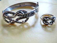 Vintage Finland Kalevala Koru silver ethnic bracelet and ring set Diy Jewelry, Silver Jewelry, Designer Silver Jewellery, Necklaces, Bracelets, Welsh, Finland, Celtic, Scandinavian