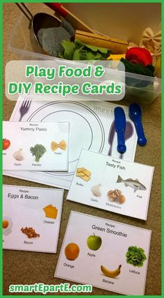 DIY Recipe Cards for play food! Customized to what you have. Part of our Healthy Foods tot school theme.