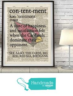 Arizona Cardinals football contentment vintage dictionary page inspired Art Print, UNFRAMED, funny humorous witty wall & home decor poster,Christmas - Fathers Day - Birthday - Man Cave -Gift for him from Parody Art Prints https://www.amazon.com/dp/B01CRATS6C/ref=hnd_sw_r_pi_dp_A8sPxbF9D8Y67 #handmadeatamazon