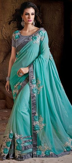 182940 Blue  color family Embroidered Sarees, Party Wear Sarees in Net, Satin fabric with Border, Lace, Machine Embroidery work   with matching unstitched blouse.