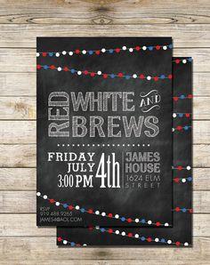 Red White & Brews 4th of July printable by SouthernSpruce on Etsy, - July 4th Invitation, Digital Printable Chalkboard Invitation Print, Modern, DIY, Chalkboard Print