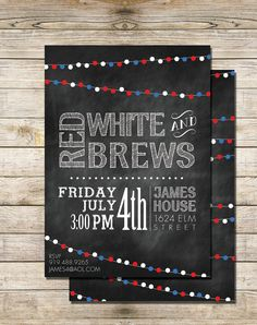 "The cutest ""red, white, and brews"" invitations via @Etsy #FourthofJuly"