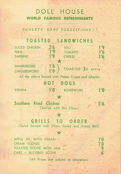The Doll House Drive-in Restaurant, Mouille Point, Cape Town Menu South Afrika, Cape Town South Africa, Old Photos, Vintage Photos, African History, Nordic Walking, Menu, Restaurant, Doll
