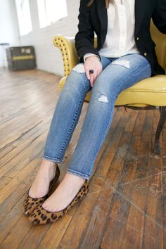 laid back preppy in ripped denim, leopard flats and a cute blouse & blazer