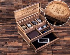 Wood Burning Personalized Mens Valet and Watch Box with Drawers, Groomsman Gift, Fathers Day Gift. Wallet, watch, sunglasses… Check! You are good to go. This valet store your most important time pieces in a stunning watch case, simplifies your morning routine, designed to store the very essentials, while showcasing your watches, making them easy to find and place, save time and energy. A great gift for groomsman, father of the bride, best man, birthdays, graduations, fathers day, valentines…