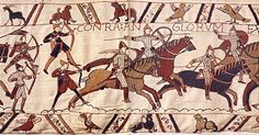 Archers in battle: Norman knights supported by archers attack the English at the Battle of Hastings.  Detail of the Bayeux Tapestry, ca 1070. - Normans were descendants of Vikings in France.