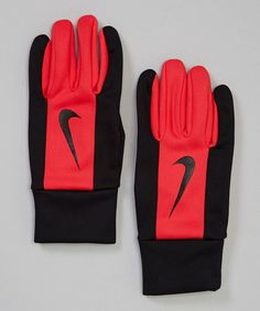 Take a look at this Black & Red Fleece Grip Training Gloves - Women & Men by Nike on #zulily today!