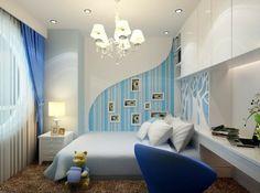 Jugendzimmer Streichen Ideen Wandfarbe  Hellblau Interessante Wohnraumgestaltung