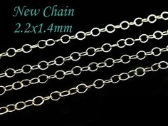 Sterling Silver Cable Chain, 5 Ft Round Wire, 2.2x1.4mm