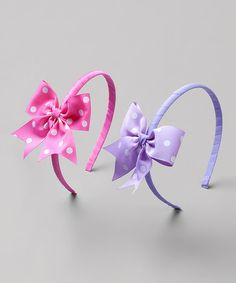 Take a look at this Hot Pink & Purple Polka Dot Headband - Set of Two by Heart to Heart on #zulily today!