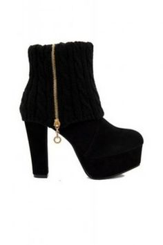 Shoes :: Boots :: Faux Suede Leather Plaid Knitted Ankle Platforms Heels Boots
