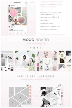 Mood board templates - fully customisable Mood Board graphics, created in both Photoshop & Illustrator and optimised in 4 different sizes for the best presentation on Pinterest, Instagram, Facebook and Twitter. You can use them in your blog posts too!