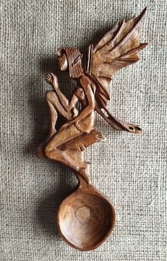 Nerys the Kitchen Fairy Love Spoon by COTOB on Etsy Wooden Spoon Carving, Carved Spoons, Wooden Spoons, Welsh Love Spoons, Medieval, Tree Surgeons, Wood Cutting, Scroll Saw, Hand Carved