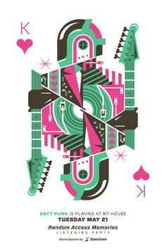 Tribute to Daft Punk / Eric Torres Sick poster! Graphic Design Posters, Graphic Design Illustration, Graphic Design Inspiration, Illustration Art, Playing Cards Art, Band Posters, Illustrations Posters, Tarot, Design Art