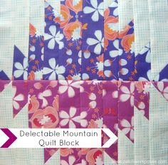 Delectable Mountain quilt block | round robin | patchwork posse # 2 quilt block designed by Becky @Patchwork Posse. I have made this block a few other times and use it often as a back up block.  It's pretty simple and is kind of quirky.  I love quirky so it's right up my alley.